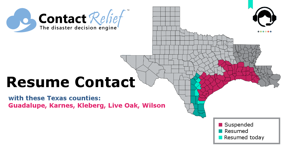 ContactRelief Recommends Resuming Contact in Some Southwestern Texas Counties