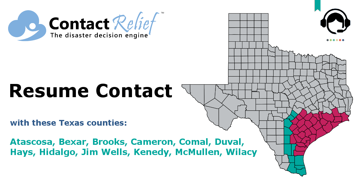 ContactRelief Recommends Resuming Contact With Certain Texas Counties Unaffected by Hurricane Harvey