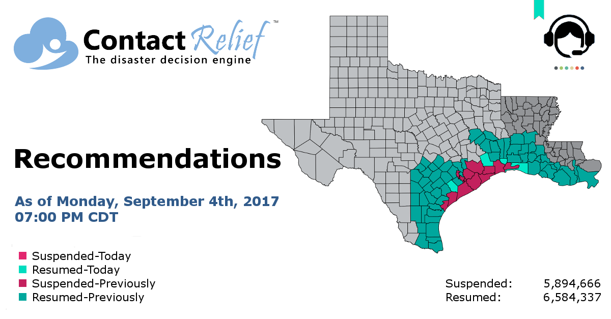 ContactRelief Recommends Resuming Contact for Additional Texas Counties and Louisiana Parishes