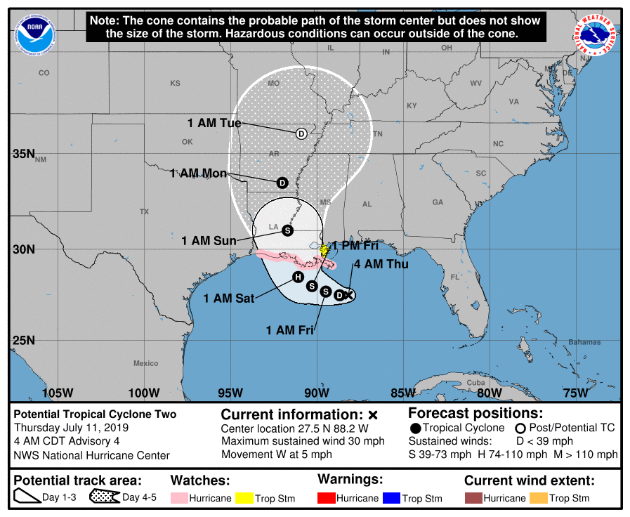 Potential Tropical Cyclone Barry Nearly at Tropical Depression Strength