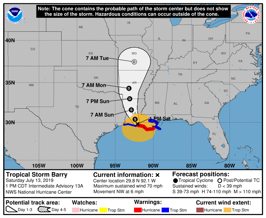 Hurricane Barry Makes Landfall Then Weakens To Tropical Storm