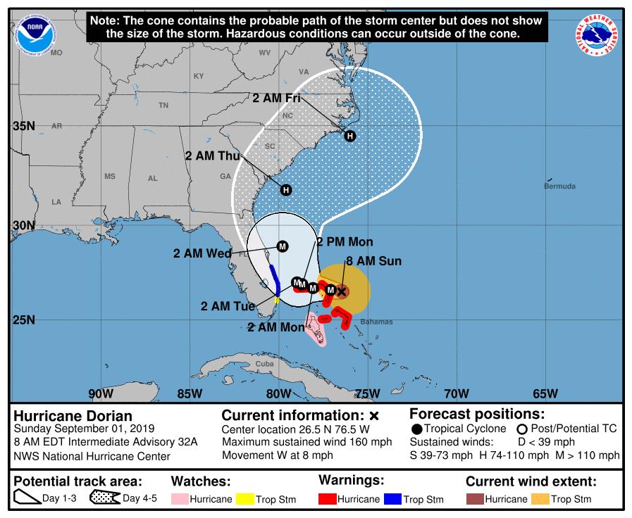 Hurricane Dorian Now A Category 5 Storm