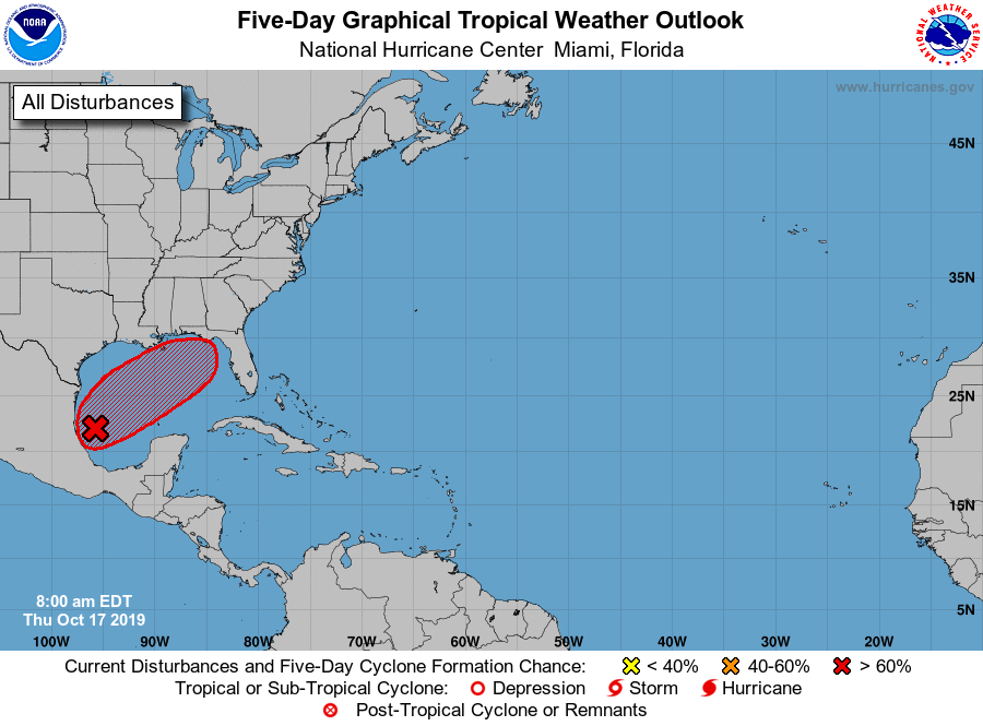 Watching Tropical Disturbance in Southwestern Gulf Of Mexico