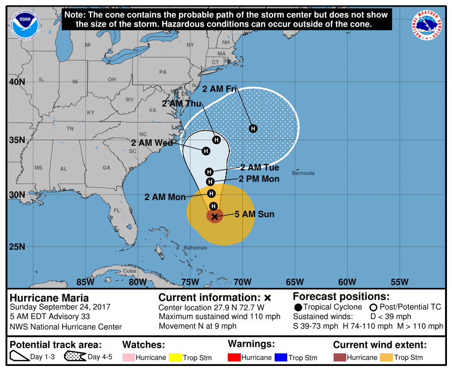 Hurricane Maria moving uncomfortable close to the Carolina and Mid-Atlantic coasts