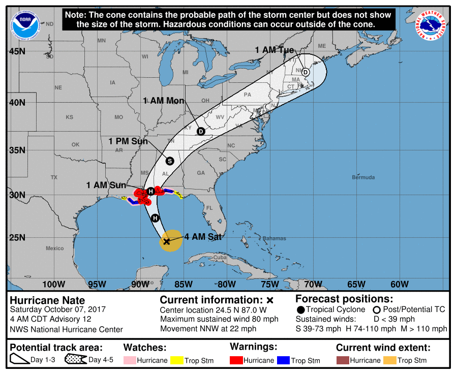 A map of the U.S. and Gulf of Mexico shows the