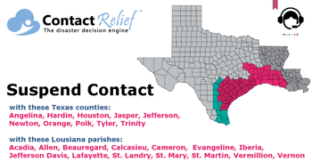 ContactRelief Recommends Suspending Contact for Southeastern Texas and Southwestern Louisiana