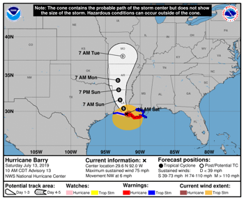 Tropical Storm Barry Becomes a Hurricane