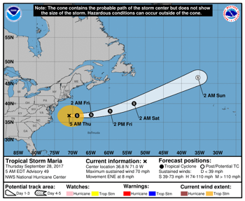 Hurricane Maria moves away from the United States