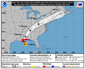 Outer Bands of Hurricane Nate Now Hitting Louisiana