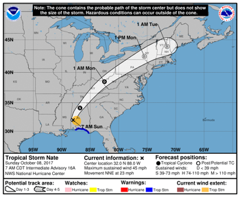 Hurricane Nate Makes Landfall - Now a Tropical Storm.