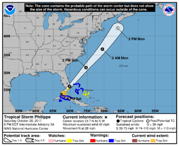Tropical Storm Philippe to hit South Florida Sunday