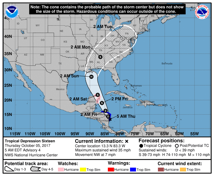 "Hurricane ""Nate"" Threatens Central Gulf Coast By Sunday"