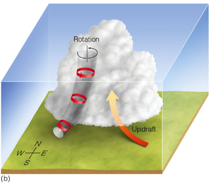 A map showing the <strong>Figure 7b.</strong> The strong updraft in the developing thunderstorm carries the vortex tube into the thunderstorm producing a rotating air column that is oriented in the vertical plane. (courtesy:  D. Ahrens)