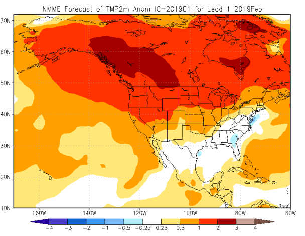 Figure 2. Forecast daily temperature departures (°C) for February 2019 over North America from the NMME model (Courtesy: Climate Prediction Center).
