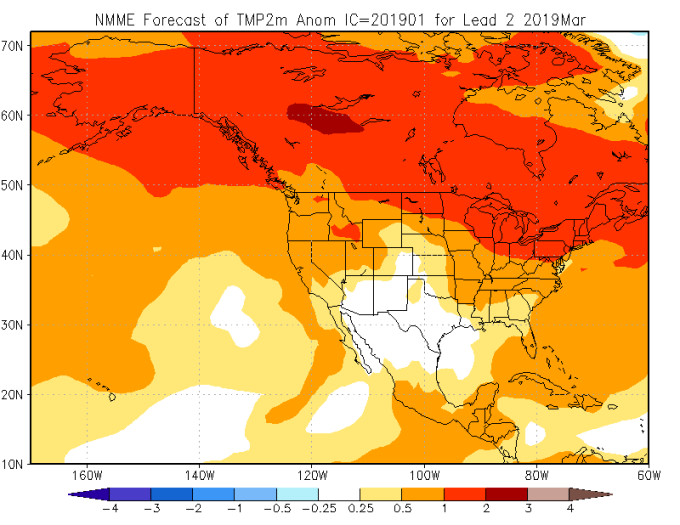 Figure 4. Forecast daily temperature departures (°C) for March 2019 over North America from the NMME model (Courtesy: Climate Prediction Center).