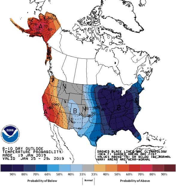 Figure 5: 8-10 Day Temperature Outlook (Courtesy: Climate Prediction Center)