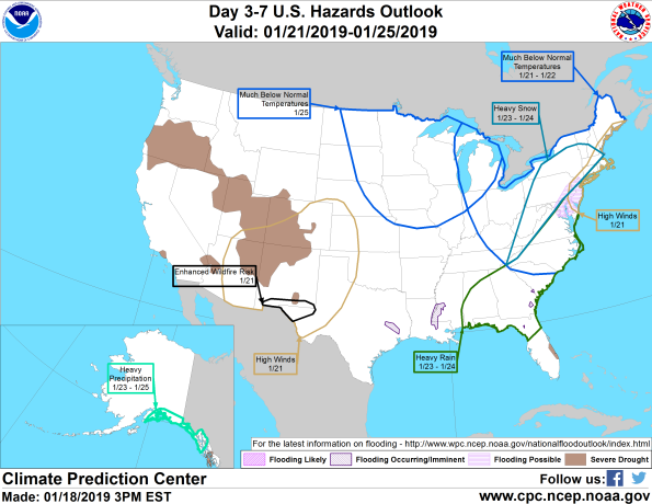 Figure 7: 3-7 Day Hazards Outlook (Courtesy: Climate Prediction Center)