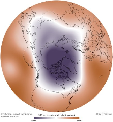 Figure 5: A More Typical Arctic Polar Vortex pattern (Courtesy: NOAA climate.gov)