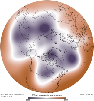 Figure 6: A less typical Arctic Polar Vortex pattern (Courtesy: NOAA climate.gov)