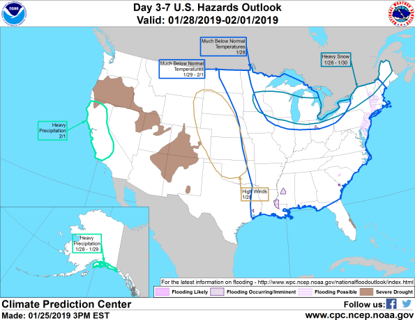 Figure 11: 3-7 Day Hazards Outlook (Courtesy: Climate Prediction Center)