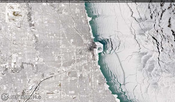 Figure 1. A very cold and snowy Chicago as seen by the Sentinel-2A satellite on January 31, 2019. (Courtesy: Pierre Markuse).