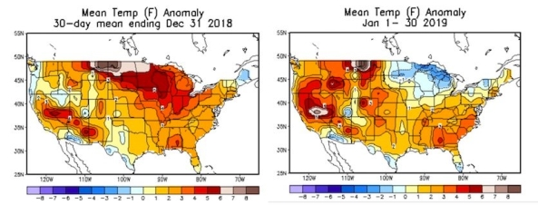Figure 6. Departures from average temperature for December 2-31, 2018 (left), and January 1-30, 2019 (right). (Courtesy: NOAA/NWS/WPC).