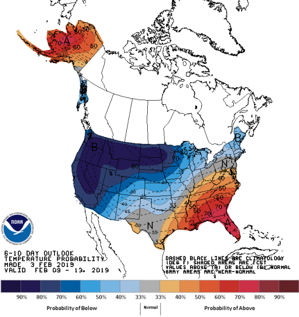 Figure 7: 8-10 Day Temperature Outlook (Courtesy: Climate Prediction Center)