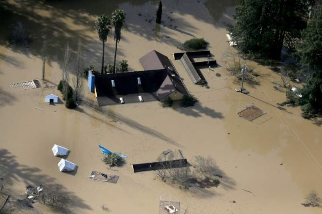 Figure 6. Flooding in Guerneville on Thursday, Feb 28th. (Courtesy: The Press Democrat)