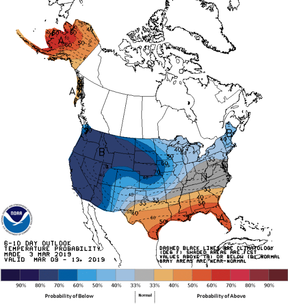 Figure 9: 8-10 Day Temperature Outlook (Courtesy: Climate Prediction Center)