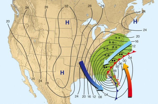 Figure 3. Surface weather map for 4 AM (EST) on March 13, 1993. Lines on the map are iso­bars (lines of equal pressure). A reading of 96 is 996 mb and a reading of 00 is 1000 mb. (To obtain the proper pressure in millibars, place a 9 before those read­ings between 80 and 96, and place a 10 before those read­ings of 00 or higher.) Green shaded areas are receiving precipitation. Heavy arrows represent surface winds. The orange arrow represents warm, humid air; the light blue arrow, cold, moist air; and the dark blue arrow, cold, arctic air (courtesy: NOAA/NCEI).