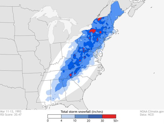 Figure 4. Accumulated snowfall between 11<sup>th</sup> and 13<sup>th</sup> March 1993 (courtesy: NOAA/NCEI).