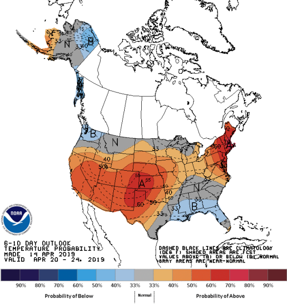 Figure 4: 8-10 Day Temperature Outlook (Courtesy: Climate Prediction Center)
